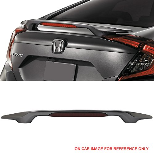 Pre-Painted Trunk Spoiler Fits 2016-2018 Honda Civic | Factory Style 4Dr Sedan Modern Steel Metallic #NH797M ABS Rear Spoiler Wing Deck Lip Other Color available by IKON MOTORSPORTS | 2017