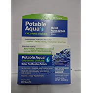 Potable Aqua Chlorine Dioxide Water Purification - Portable Tablets For Camping or Emergency Drinking Water