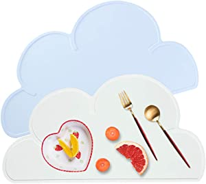 Placemat for Dog Pet Cat Anti-Slip Silicone Bowl Mats Waterproof Cute Cloud Pattern Easy Clean Food Grade Feeding Placemat