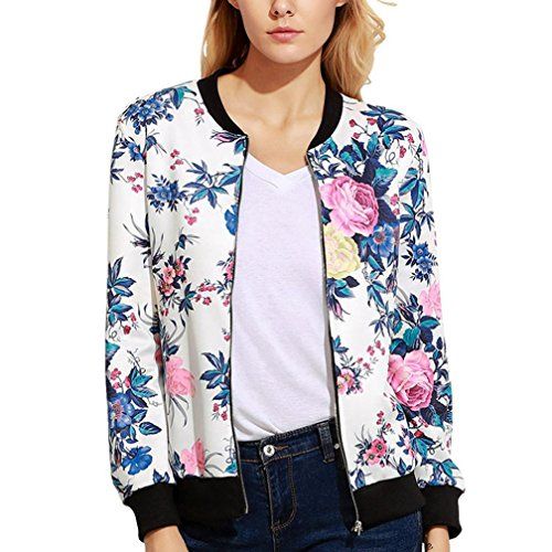 TOPUNDER Women Casual Print Zipper Vintage Blazer Jacket Coat Outwear Blouse (S, White) from TOPUNDER Coat