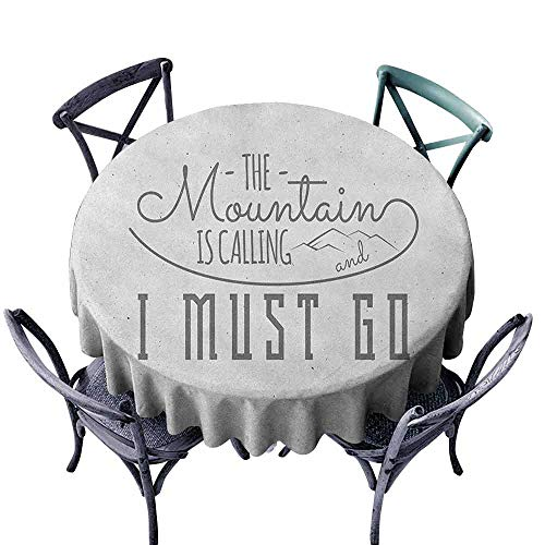 (G Idle Sky Adventure Wrinkle Resistant Tablecloth Inspirational Typography Design Hiking Woods Mountains Call of The Nature Theme Indoor Outdoor Camping Picnic D47 Grey White)