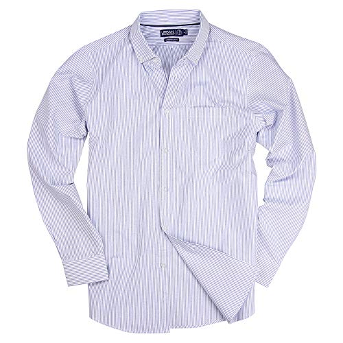 (Long Sleeve Striped Button Down Cotton Oxford Shirts for Men (Blue Stripe, Regular Fit: X-Large))