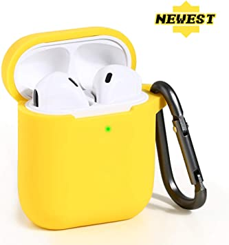 Front LED Visible Lemon Yellow SmartDevil AirPods Case Protective Silicone Cover Accessories with Carabiner Compatible with Apple AirPods 2 /& AirPods 1