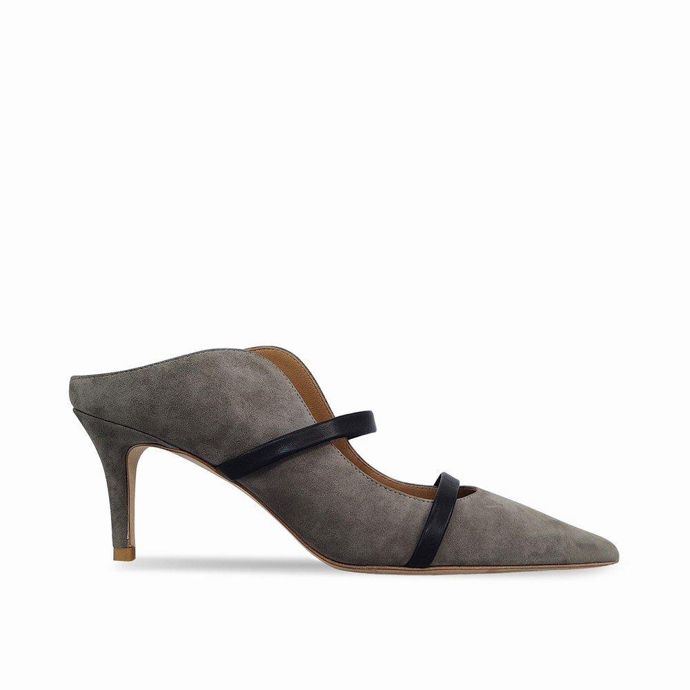 DHG Mulei Baotou Flacher Mund Hochhackige Mulei DHG Schuhspitze mit Feinen Sandalen und Pantoffeln,Leichter Kaffee,35 - 92796a