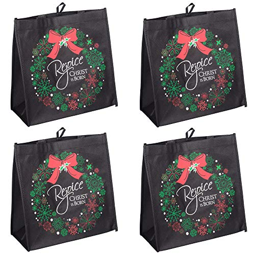 Rejoice Christ is Born Wreath Glittered 12 x 12 Reusable Eco-Friendly Tote Bag, Pack of 4