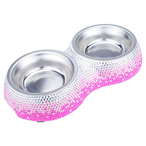 SAVORI Handmade 11 Row Bling Rhinestones Pet Feeder Removable Stainless Steel Pet Bowls For Little Cats Puppies (Hotpink gradient)