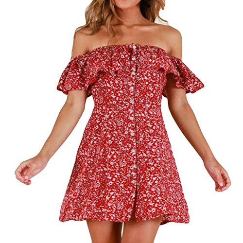 PENGYGY Women Flower Printing Dress Summer Casual Skirt Ladies Off Shouder Sleeveless Top Red
