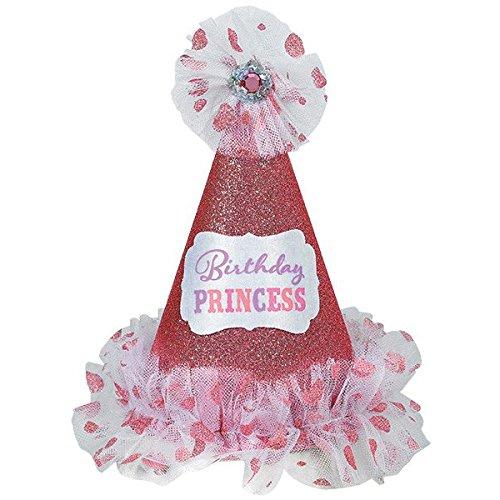 Amscan 250546 Birthday Princess Cone Hat, 9'' x 8'', Metallic Red/White