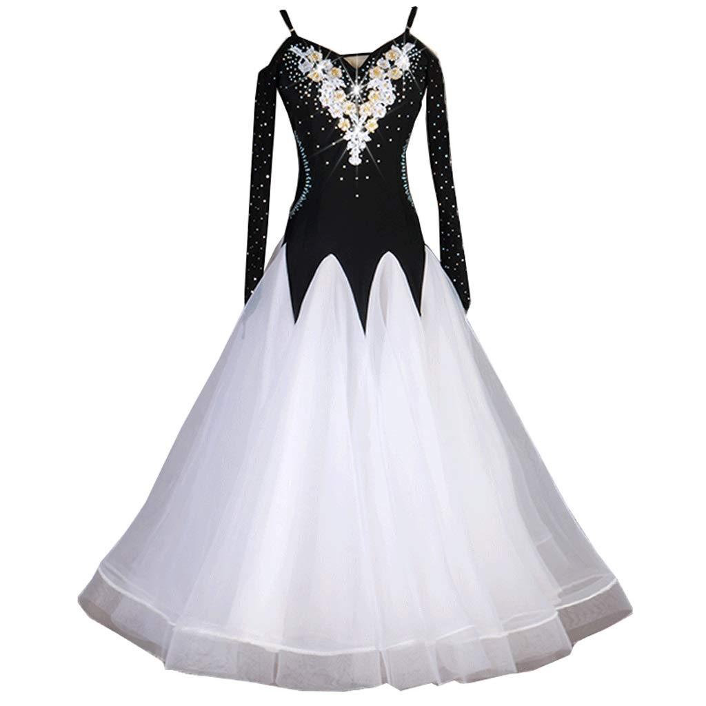 現代のダンスの競争の服のワルツのパフォーマンスの服全国標準舞踊の大きなスイングのスカートのフラッシュ掘削アップリケ衣装 B07QWY184S 白 XXL
