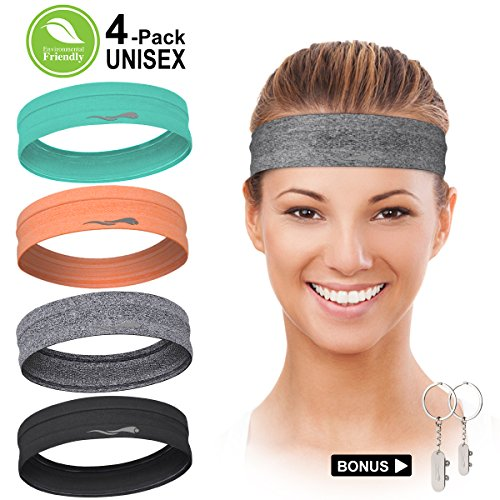 LUCKYGO Workout Headbands for Women Men, Highly Absorbent Non-slip Sweatbands, Super Soft Stretchy Bandana Headband, Sweat Wicking Head Band for Sports Fitness Fashion Running Yoga Exercise Tennis