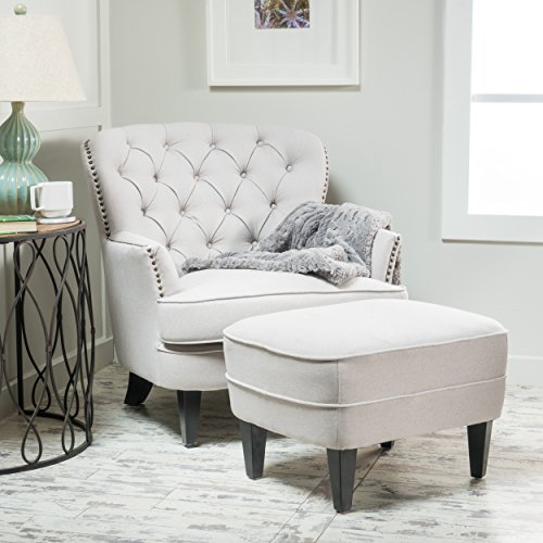 Alfred Tufted Fabric Club Chair with Ottoman, Contemporary Lounge Accent Chair and Footstool Set ...