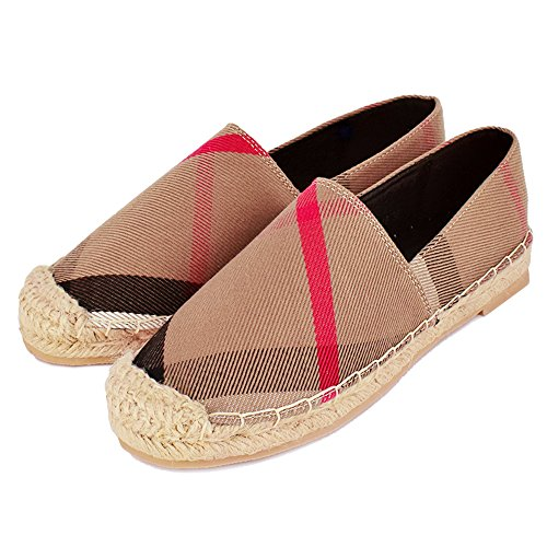 Tengyu Women's Espadrilles Flats Original Slip On Loafer Shoes Classic Canvas Comfort Alpargatas (US9=EU40=25CM, Khaki)