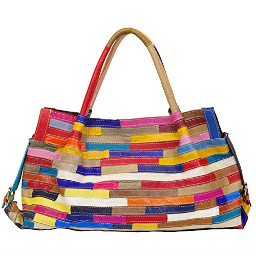 - Segater Women's Multicolor Boston Bag Genuine Leather Colorful Patchwork Large Tote Handbag Hobo Purse Crossbody Big Bag