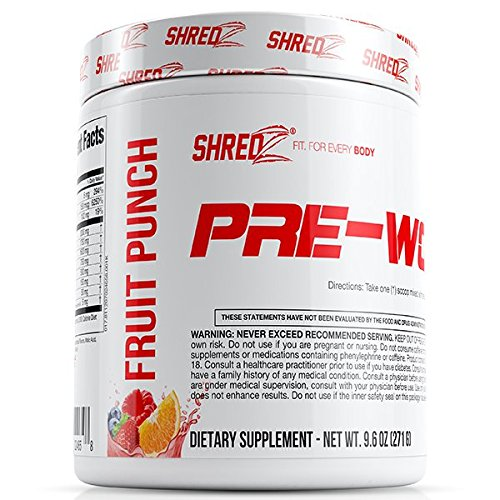 SHREDZ Pre-Workout End-piece Designed for Men Increases Energy and Boosts Performance - Fruit Punch 9.6oz
