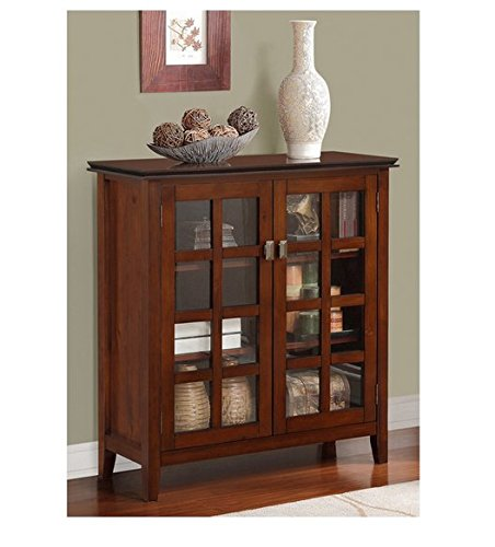 Pine Set China Cabinet (WYNDENHALL Stratford Auburn Brown Medium Contemporary Storage Media Cabinet & Buffet)
