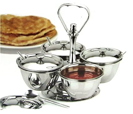 Sunnex 4pc Revolving Relish Server, Stainless Steel