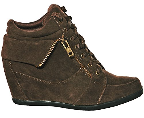 Fashion shoewhatever Lace Pl Top up Women's Browngl Wedge Sneakers Hi XqSr0wX