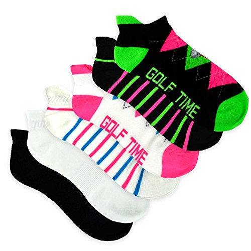 TeeHee Women's Golf Socks No Show Socks 6-Pairs Assorted (Argyle Stripe), Sock Size 9-11/Shoe size 6-20