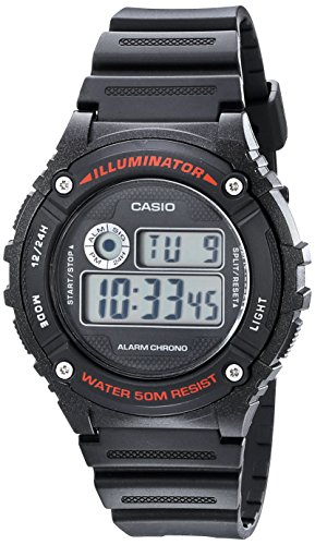 Casio Illuminator Digital Watch (Casio Unisex W-216H-1AVCF Illuminator Black Watch)