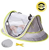 baby beach gear - MinGz Large Baby Travel Tent, Portable Baby Travel Bed UPF 50+ Sun Travel Cribs Pop Up Folding Beach Tent Mosquito Net and 2 Pegs Infant Beach Gear UV Protection
