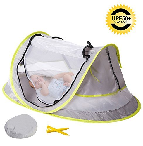 Sunnec Large Baby Travel Tent, Portable Baby Travel Bed UPF 50+ Sun Travel Cribs Pop Up Folding Beach Tent Mosquito Net and 2 Pegs Infant Beach Gear UV Protection