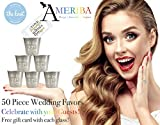 Wedding Favors   Premium Stainless Steel 1.5oz Shot Glasses   Groomsmen Shot Glasses, Bridesmaid Gifts for (Metallic Silver, 50)