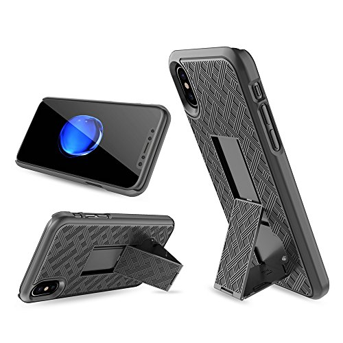 iPhone X Case, Moona Shell Holster Combo Case for Apple iPhone X with KickStand & Belt Clip '2 Year Warranty' - iPhone 10 Belt Clip Case Thin Holster Photo #6