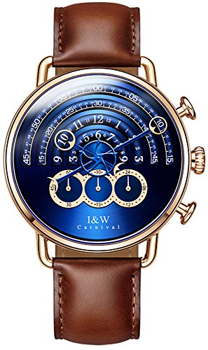tz Chronograph Sport Watches for Men Rose Gold Blue Dial Leather Band (Brown) ()