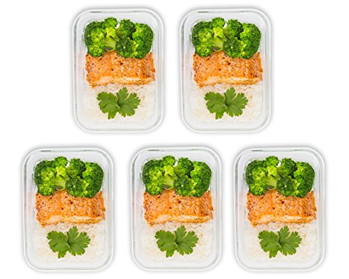 5 pack glass meal prep containers food prep containers with lids meal prep food storage. Black Bedroom Furniture Sets. Home Design Ideas