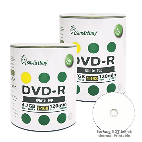 51vJI4rdarL - Smartbuy 4.7gb/120min 16x DVD-R White Top Blank Data Video Recordable Media Disc (200-Disc)
