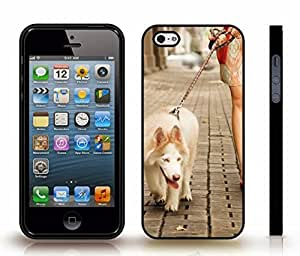 Case For Sam Sung Galaxy S5 Cover with White Dog on a Leash, Lady walking a Dog, Photo , Snap-on Cover, Hard Carrying Case (Black)