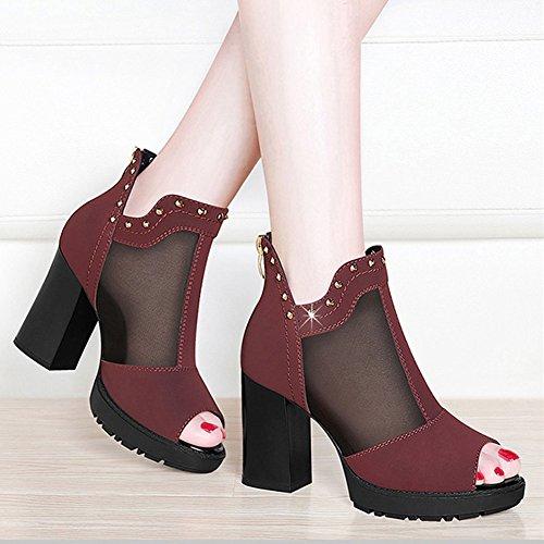 Fish Sandals Summer ZHIFENGLIU Gauze Red Mouth Shoes Women Zipper With Coarse Platform Waterproof Heel Rear High TYR55qUxdw
