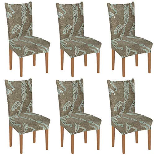 XIANYU Priting Dining Chair Covers,Stretch Dining Chair Slipcover Parsons Chair Covers Removable Chair Protector Covers for Dining Room, Hotel, Ceremony,Banquet Chair Seat Covers