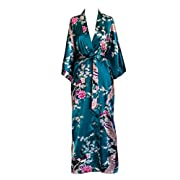 Old Shanghai Women's Kimono Long Robe - Peacock & Blossoms - Peacock (on-seam pocket)