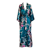 Old Shanghai Women's Kimono Long Robe - Peacock & Blossoms - Peacock (on-seam...