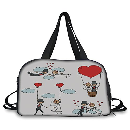iPrint Travel handbag,Wedding Decorations,Cartoon Couple Romantic Caricatures Getting Married Newlywed,Red Mint Green Grey ,Personalized by iPrint