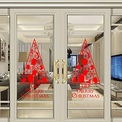 Merry Christmas Wall Stickers Christmas Wall Decals Tree Window Clings Decorations - Xmas Stickers Decals Ornaments (2 Pieces, 13 X 24inch)