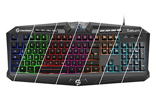 51vJIVjMyTL - Gaming Keyboard, UtechSmart Saturn RGB Visual Effect Wired Gaming Keyboard with Rainbow LED Backlit