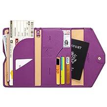 Zoppen Mulit-purpose Rfid Blocking Travel Passport Wallet (Ver.4) Tri-fold Document Organizer Holder, #20 Aubergine Purple