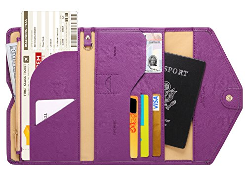 (Zoppen Multi-purpose Rfid Blocking Travel Passport Wallet (Ver.4) Tri-fold Document Organizer Holder, Aubergine Purple )