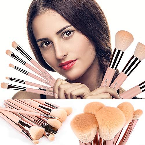 Le Coellon Antibacterial Makeup Brushes Set, 10PCS Premium Synthetic Brush Face Powder Foundation Concealer Blush Brush Detailed Eyeshadow Eyebrow Highlight Brush Kit Cosmetics Tool Pink