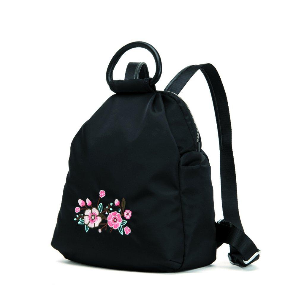 女性のミニバックパック美しい刺繍パーソナリティタイドバッグカジュアルオックスフォードバックパック(ブラック) (色 : Black) B07FMYW1T4 Black