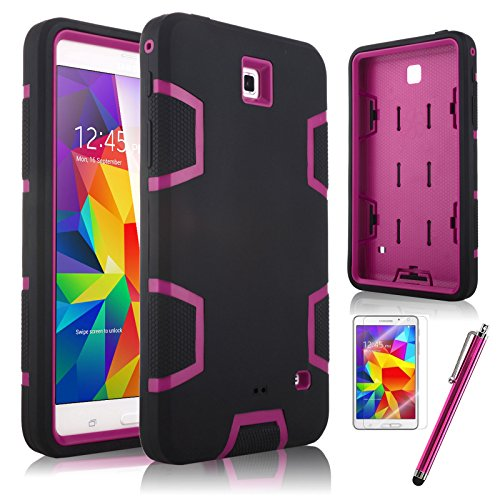 """Tab 4 7.0 Case, ULAK Samsung Galaxy 4 7.0 Case 3in1 Hybrid Shockproof Case for Samsung Galaxy Tab 4 7.0"""" T230 /T231/ T235 Galaxy Tab 4 Nook Dual Layer Armor Defender Full Body Protective Cover with Screen Protector + Stylus (Magenta+Black)"""