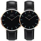 Carnival Couple Tritium Gas Luminous Quartz Ultra Simple Wrist Watches with Leather Band for Men and Women Blue or Green Light Set of 2 (Black band-rose gold case-blue light)