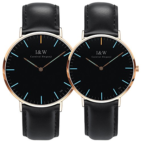 Carnival Couple Tritium Gas Luminous Quartz Ultra Simple Wrist Watches with Leather Band for Men and Women Blue or Green Light Set of 2 (Black band-rose gold case-blue light) by Carnival