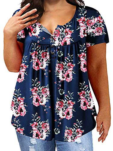 (Women's Plus Size Knit Tees Floral Print Tops Pleated Tunic Blouses Shirts B)
