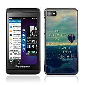 Bible Case Cover BLACKBERRY Z10 / LAMENATIONS 3:24 THE LORD IS MY PORTION /
