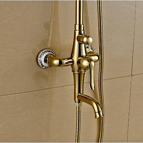 50%OFF SAEKJJ-Antique Golden Shower Shower Shower Set Continental Copper And Gold-Plated Bathroom Shower Faucet Hot And Cold American Bathroom faucet