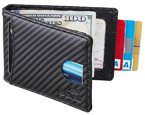 NapaWalli RFID Blocking Bifold Slim Genuine Leather Thin Minimalist Front Pocket Wallets for Men Money Clip (Carbon Fiber Leather Black) by NapaWalli (Image #5)