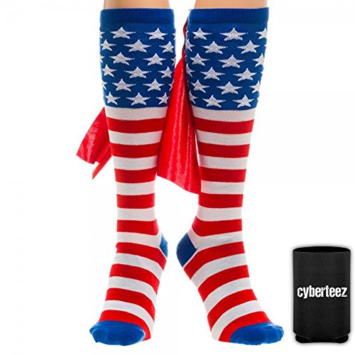 USA-American-Flag-Patriotic-Stars-Stripes-Knee-High-Socks-w-Cape-Coolie